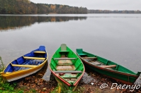Boats at Trakai Castle, Lithuania