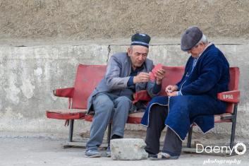 old men playing cards, Bukhara