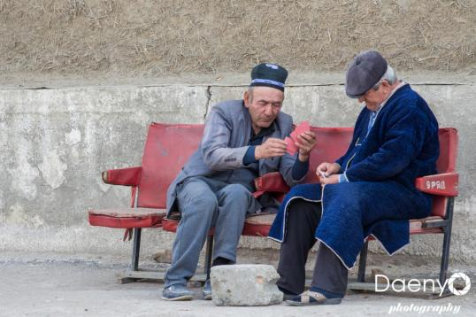 old men playing cards, Bukhara
